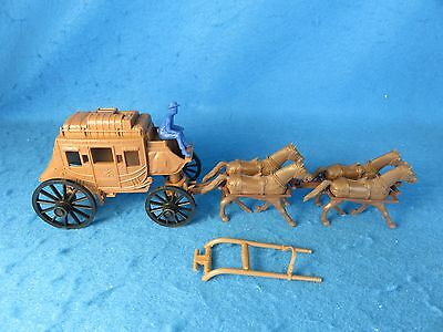 Marx reissue stagecoach with 4 horse team, double hitch and driver-light brown