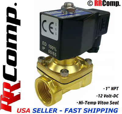 "1"" NPT 12-VOLT DC Brass Electric Solenoid Valve, Seal VITON: Air,Water,Oil N/C"