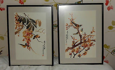 2 VINTAGE CHINESE ORIENTAL BIRD PICTURES HAND CUT BAMBOO WHEAT STALK  glazed