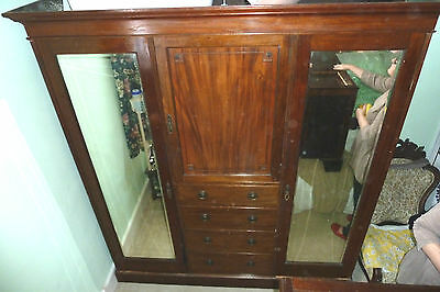 Antique Victorian Mahogany Large Wardrobe drawers mirrors hanging compactum