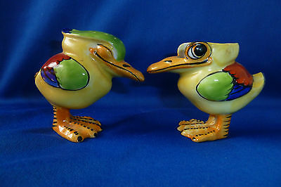 Vintage Crown Staffordshire Art Deco Winking Bird Mustard And Pepper Pot