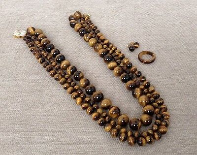 VINTAGE Tiger's Eye 14k Gold Diamond Clasp Earring Necklace Collar Ring Knot Set