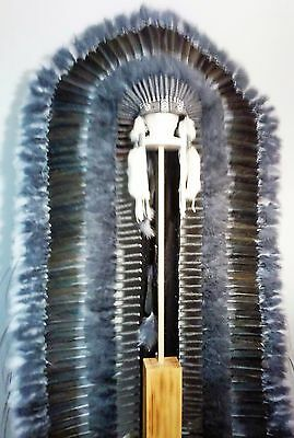 "Genuine Native American Navajo Indian Headdress 68"" GREY WOLF TRAILER Grays"