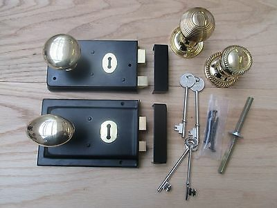 BLACK RIM LOCK + BRASS RIM KNOB SET - Old vintage retro style door rim handles