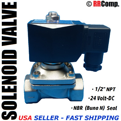 "1/2"" NPT 24-VOLT DC, SS Electric Solenoid Valve, Seal NBR: Air, Water, Oil N/C"