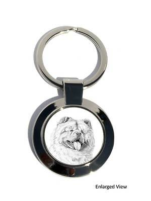 Chow Chow Dog Round Chrome Plated Keyring Boxed Gift Key Fob