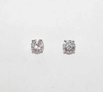 5mm Round 925 Sterling Silver Simulated Diamond Stud Earrings Made in UK
