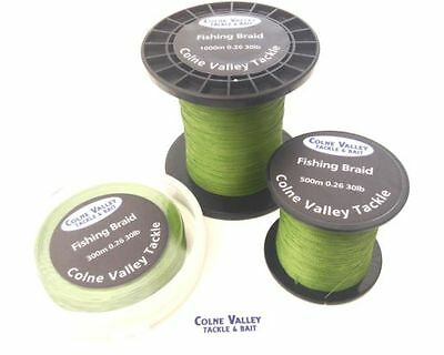 carp fishing braid 20lb/30lb/40lb floating  olive green colne valley tackle