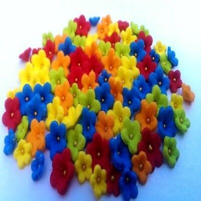 100 Edible tiny sugar flowers (2 sizes) cake cupcake toppers decorations