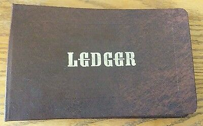 """Vintage Mead Corporation Ledger Brown with Gold Lettering Blank Pages 10"""" x 6"""""""