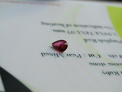 Nice Certified 0.28 Carat Unheated Pear Cut Transparent Ruby.