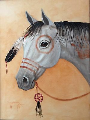 Navajo canvas painting 30x24 WAR HORSE by world renowned Artist Jimmy Yellowhair