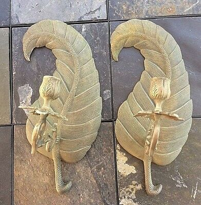 "Large Stunning Rare Pair of Large 14"" French Antique Cast Bronze Feather Sconces"