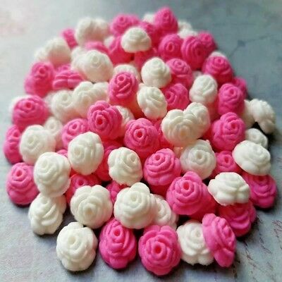 200 edible sugar paste tiny roses sprinkles cake cupcake toppers decorations