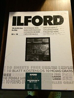 "ILFORD PHOTO PAPER MULTIGRADE lV RC DELUXE MGD.1M 8"" x 10"" GLOSSY UNOPENED"