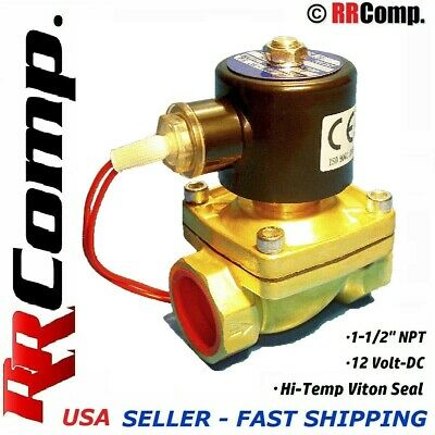 "1-1/2"" NPT 12-VOLT DC Brass Electric Solenoid Valve, Seal VITON: Air,Water,Oil"