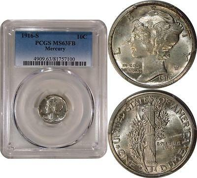 1916-S Mercury Dime ** PCGS MS63FB **   Frosty White with Full Bands