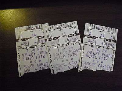Lot of 3 Vintage 1982 George Carlin Valley Forge Music Fair Ticket Stubs