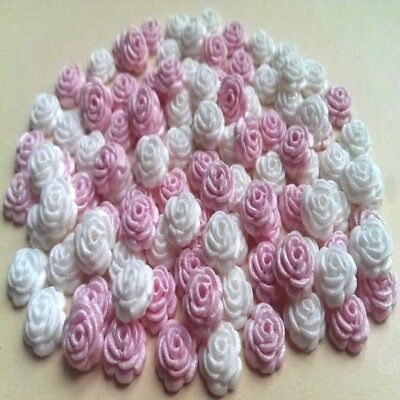 100 edible sugar tiny roses sprinkles cake cupcake toppers decorations GLOSSY