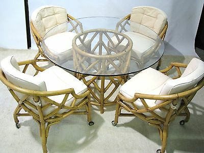 Ficks-Reed Bamboo Table & Four Chairs on Casters; Excellent Vintage Condition