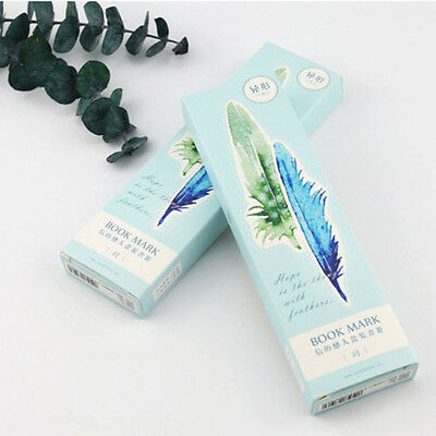 30 pcs/pack Watercolor Painting Feather Bookmark Paper Cartoon Animals Bookmark
