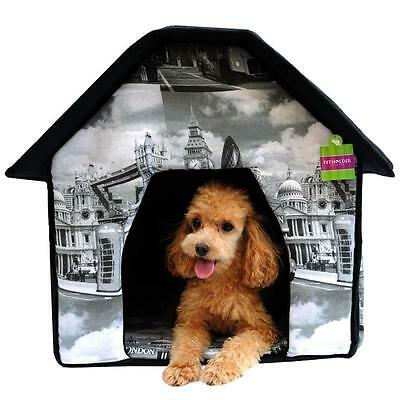 Portable Pet House Bed Collapsible Warm Soft Indoor For Dogs/Cats London Print