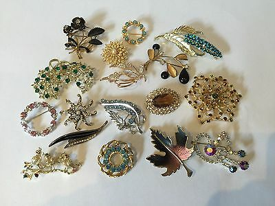 Vintage 1950's Brooches Rhinestones Pearls Costume Jewelry LOT Coro Collection