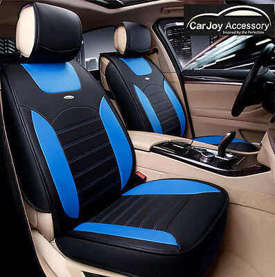 Blue Leather Car Seat Covers Waterproof Universal fit for 5 Seats Car Full Set