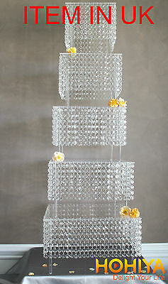 1M Acrylic CRYSTAL CLEAR GARLAND WEDDING CAKE STAND DECORATIONS