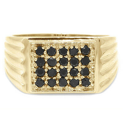 Natural 1.0ct Black Diamond 9ct 9K 375 Solid Gold Gents Mens Ring