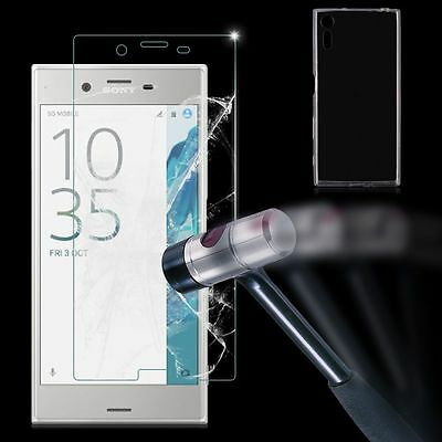 Clear TPU Case Cover + Tempered Glass Screen Protector For Sony Xperia XZ F8332