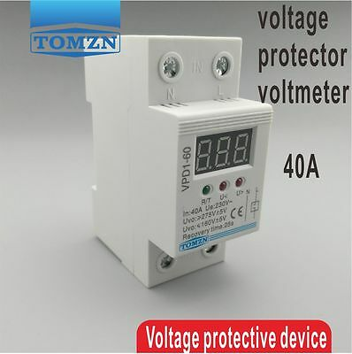 40A 220V automatic reconnect over voltage and under voltage protective device