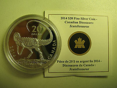 2014 Proof $20 Dinosaurs of Canada #2-Scutellosaurus COIN&COA ONLY .9999 silver