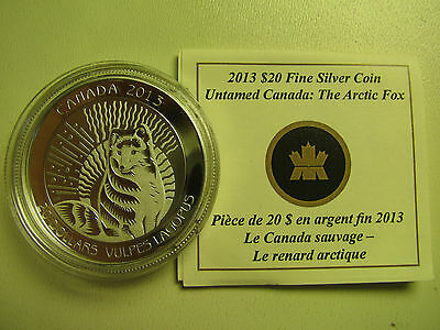 2013 Proof $20 Untamed Canada #1-Arctic Fox COIN&COA ONLY .9999 silver twenty do
