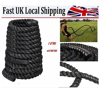 Battle Power Rope 40mm Battling Sport Bootcamp Gym  Fitness Training 15M
