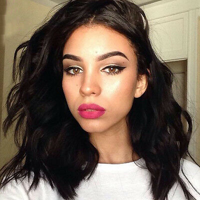 Black Lace Front Wig Short Curly Wavy Wave Synthetic Fashion Women Hair Wigs #V4