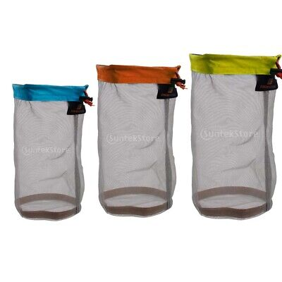 Outdoor Travel Camping Mesh Stuff Sack Drawstring Storage Bag Pouch - All SIZES