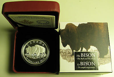 2014 Proof $20 The Bison #3-The Bull and His Mate Canada .9999 silver twenty dol