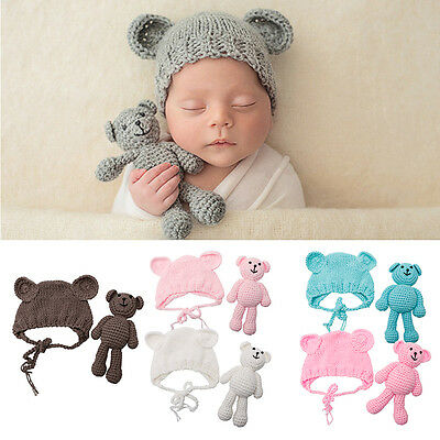 Newborn Baby Girl Boy Crochet Knit Bear +Hat Set Photography Prop Photo Gift