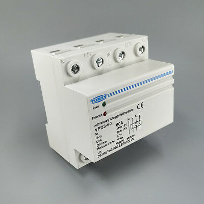 60A 380V~ Three Phase Din rail automatic recovery reconnect over voltage