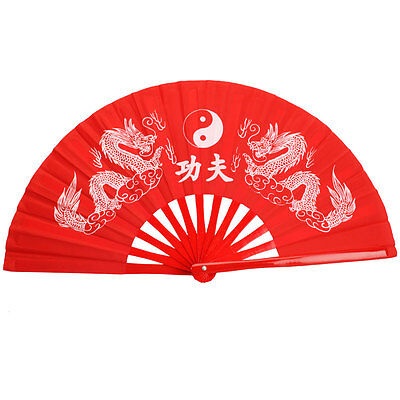 New Chinese Tai Chi Martial Arts Exercise Kung Fu Bamboo Dragon Fan Red