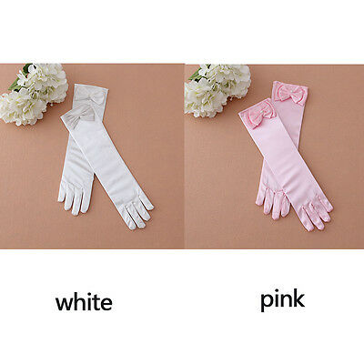 Fashion Pearl Little Bow Princess Girl Kids Gloves for Dance Costume Party Gift