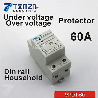 60A 230V Din rail automatic recovery over and under voltage protector relays