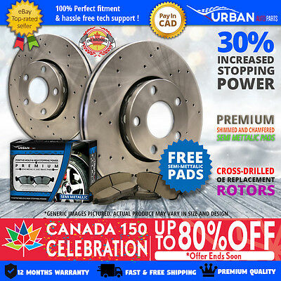 2008 Ford F-150 4WD w/6 Lugs Rotors (Front Rotors + Pads)-Cross Drilled