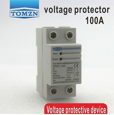 100A 230V Din rail automatic recovery over and under voltage protector relays