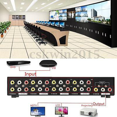 8 In 1 Out Splitter Composite 3RCA AV Video Audio Selector Switch Switcher Box