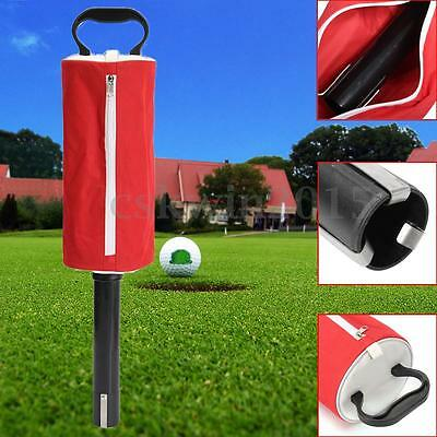 Golf Ball Picker Pickup Pick-up Red Zipper Carry Shag Bag Holds 50 Balls Storage