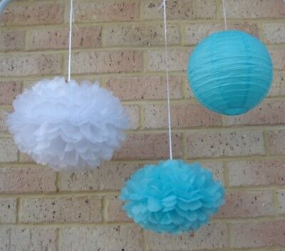 24x blue white tissue paper pom poms & lanterns wedding party baby shower decor