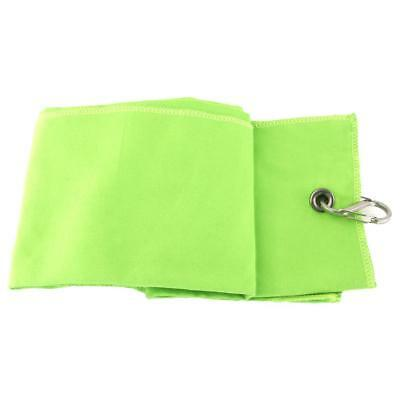 Portable Fleece Tri-fold Compact Golf Towel Climbing Camping Accessory Green