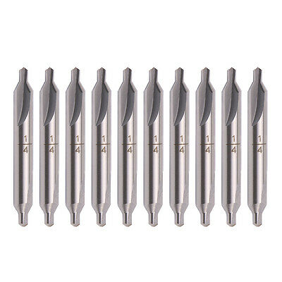 "10x A-Type 1/4"" Tip HSS Combined Center Drill 60 Degree Angle Countersink Bit"